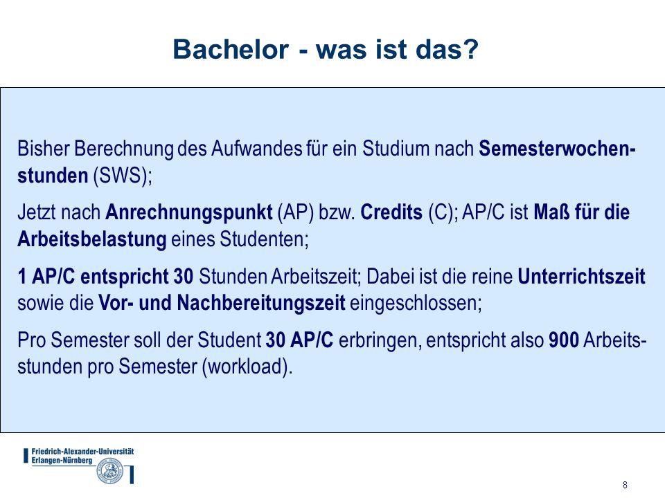 Bachelor - was ist das Bisher Berechnung des Aufwandes für ein Studium nach Semesterwochen- stunden (SWS);