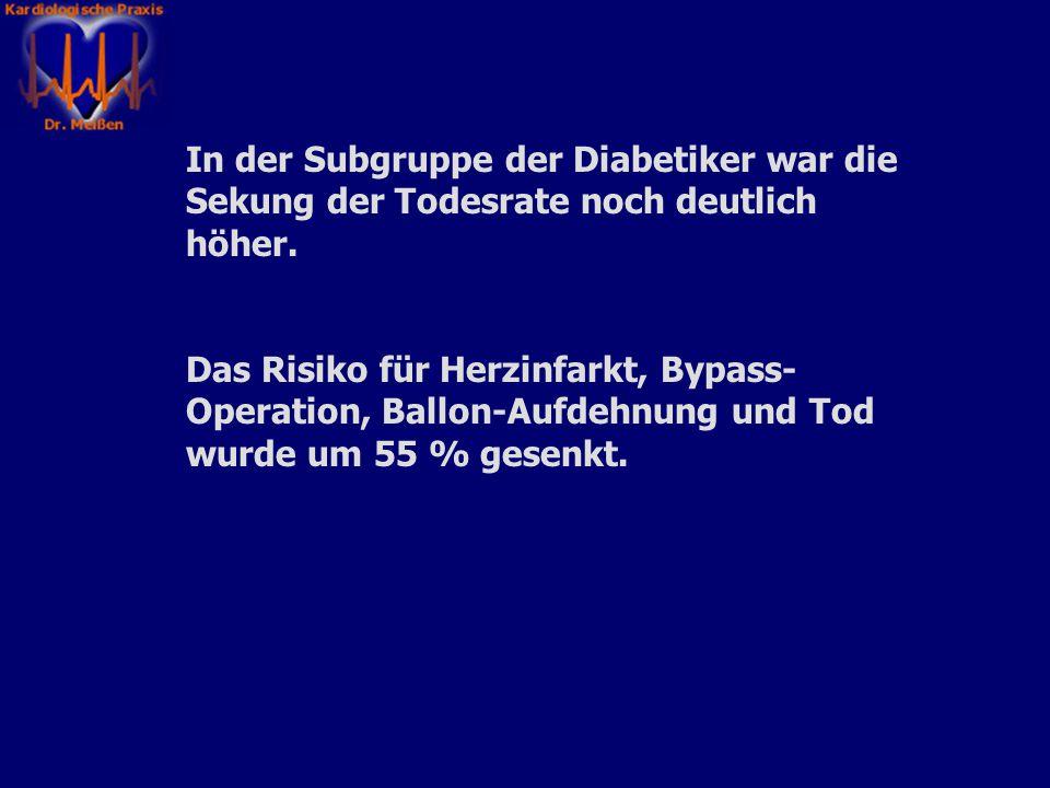 In der Subgruppe der Diabetiker war die Sekung der Todesrate noch deutlich höher.