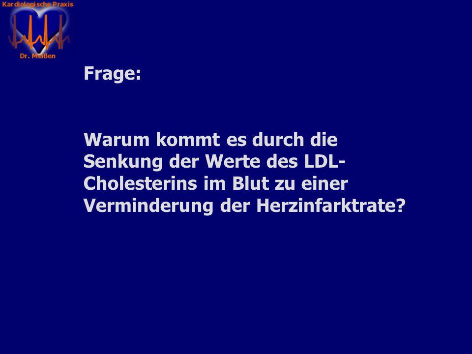 Frage: Warum kommt es durch die Senkung der Werte des LDL-Cholesterins im Blut zu einer Verminderung der Herzinfarktrate
