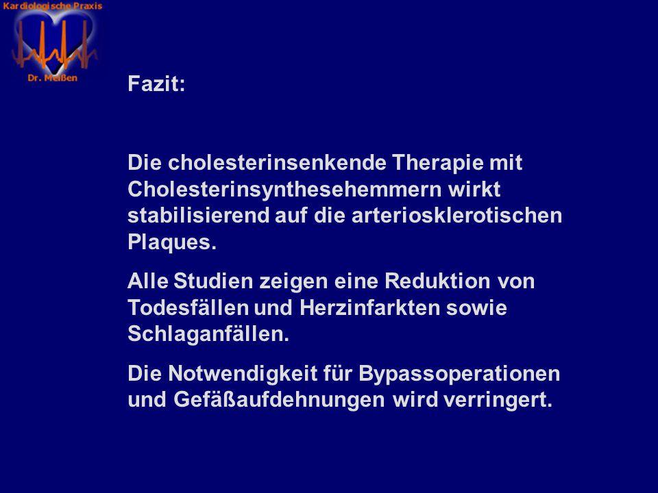 Fazit: Die cholesterinsenkende Therapie mit Cholesterinsynthesehemmern wirkt stabilisierend auf die arteriosklerotischen Plaques.