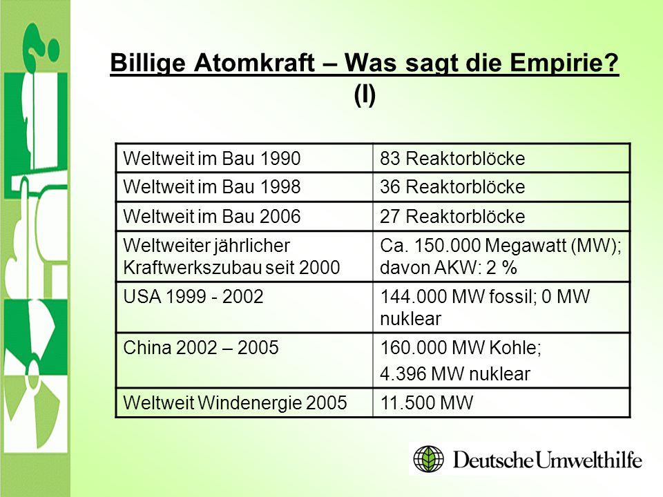 Billige Atomkraft – Was sagt die Empirie (I)