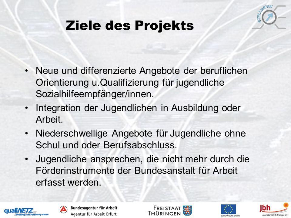 Ziele des Projekts Neue und differenzierte Angebote der beruflichen Orientierung u.Qualifizierung für jugendliche Sozialhilfeempfänger/innen.