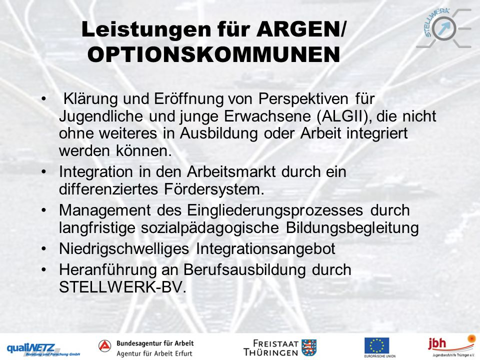 Leistungen für ARGEN/ OPTIONSKOMMUNEN
