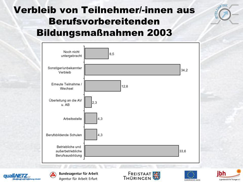 Verbleib von Teilnehmer/-innen aus Berufsvorbereitenden Bildungsmaßnahmen 2003