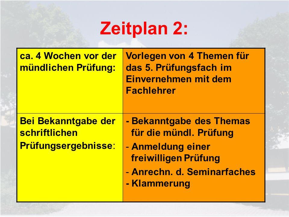 Zeitplan 2: ca. 4 Wochen vor der mündlichen Prüfung: