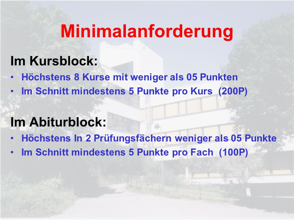 Minimalanforderung Im Kursblock: Im Abiturblock: