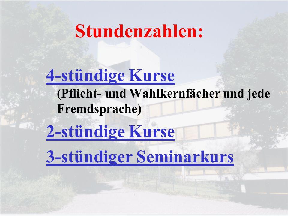 Stundenzahlen: 4-stündige Kurse (Pflicht- und Wahlkernfächer und jede Fremdsprache) 2-stündige Kurse.