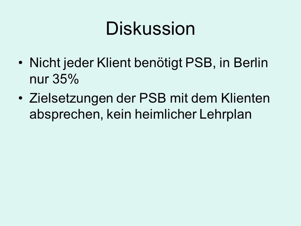 Diskussion Nicht jeder Klient benötigt PSB, in Berlin nur 35%