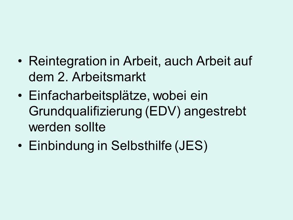 Reintegration in Arbeit, auch Arbeit auf dem 2. Arbeitsmarkt