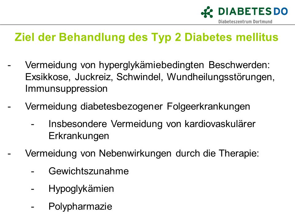 Ziel der Behandlung des Typ 2 Diabetes mellitus