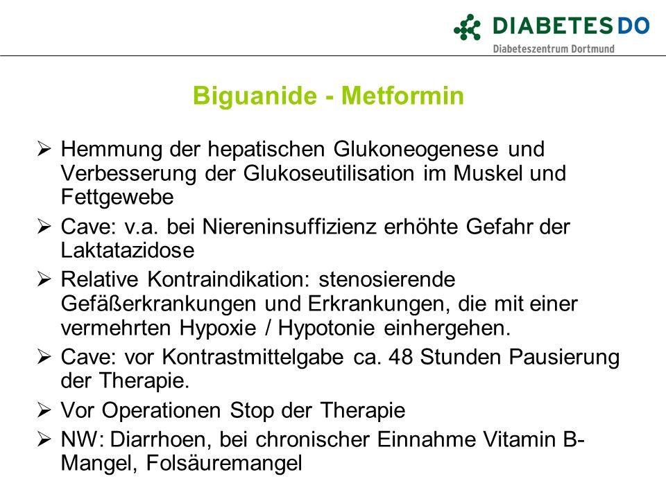 Biguanide - Metformin Hemmung der hepatischen Glukoneogenese und Verbesserung der Glukoseutilisation im Muskel und Fettgewebe.