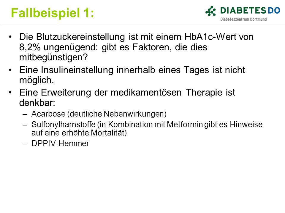 Fallbeispiel 1: Die Blutzuckereinstellung ist mit einem HbA1c-Wert von 8,2% ungenügend: gibt es Faktoren, die dies mitbegünstigen