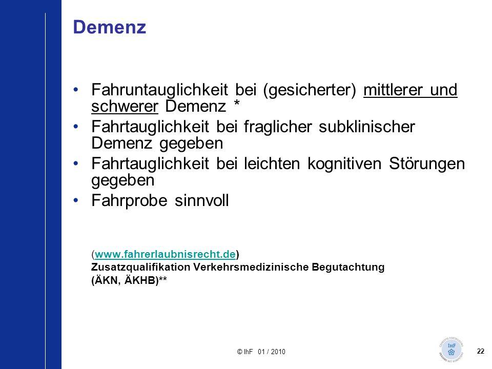 Demenz Fahruntauglichkeit bei (gesicherter) mittlerer und schwerer Demenz * Fahrtauglichkeit bei fraglicher subklinischer Demenz gegeben.