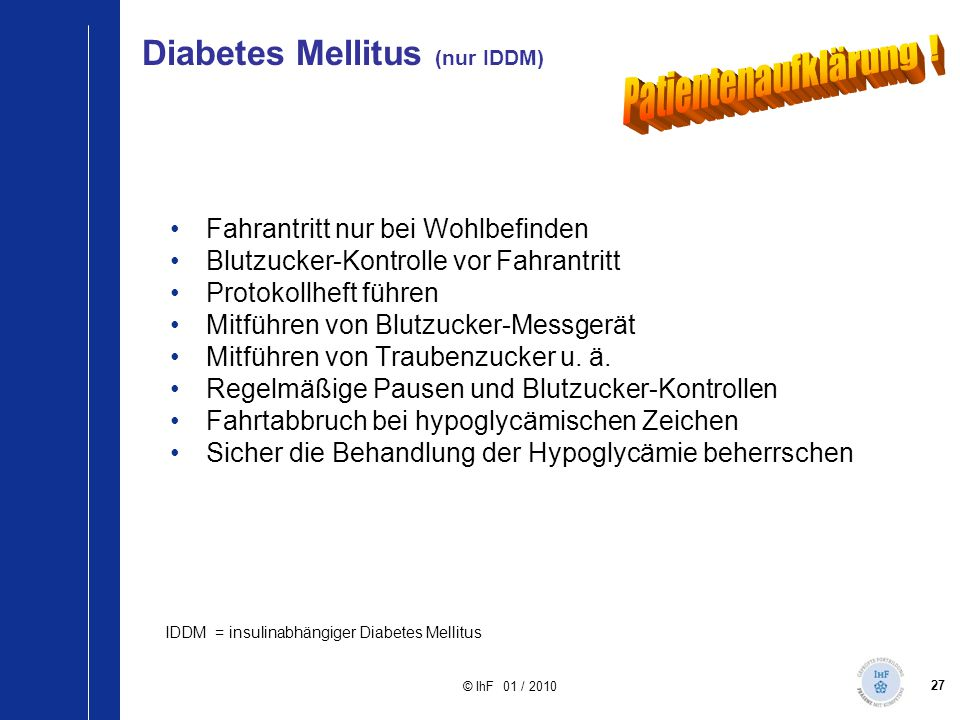 Diabetes Mellitus (nur IDDM)
