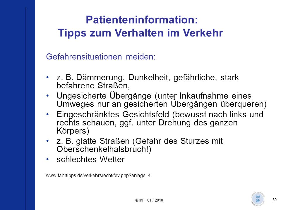 Patienteninformation: Tipps zum Verhalten im Verkehr