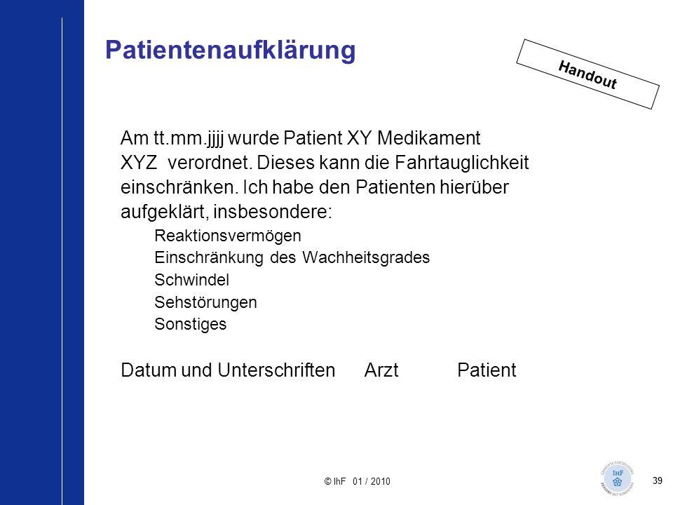 Patientenaufklärung Am tt.mm.jjjj wurde Patient XY Medikament