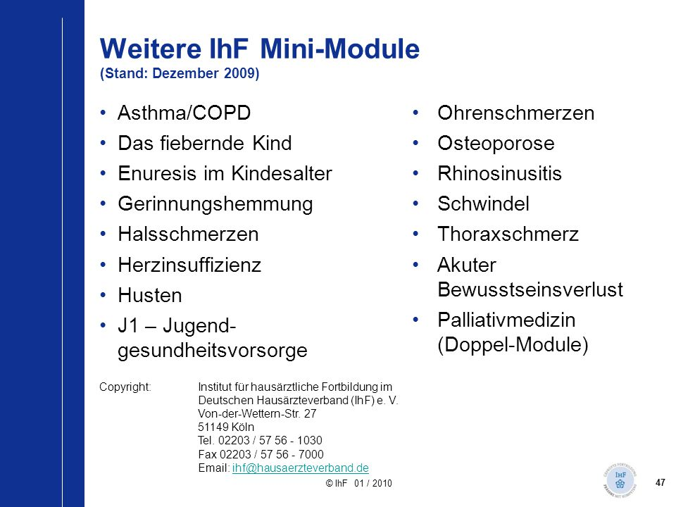 Weitere IhF Mini-Module (Stand: Dezember 2009)