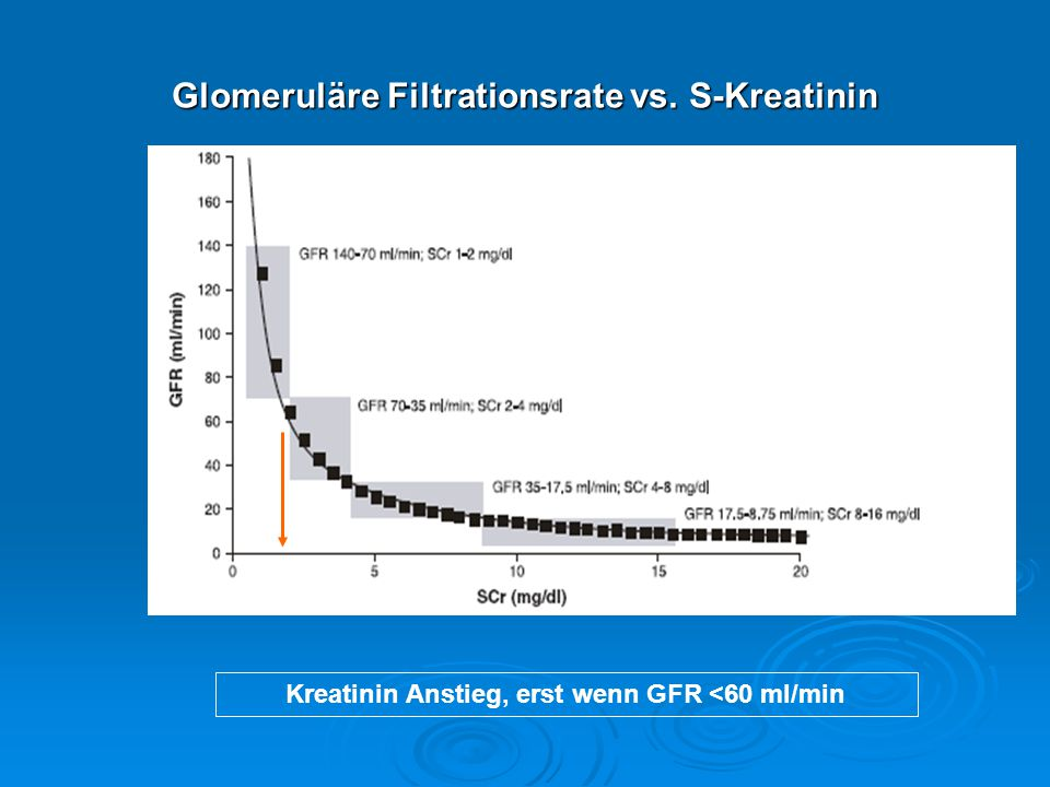 Glomeruläre Filtrationsrate vs. S-Kreatinin