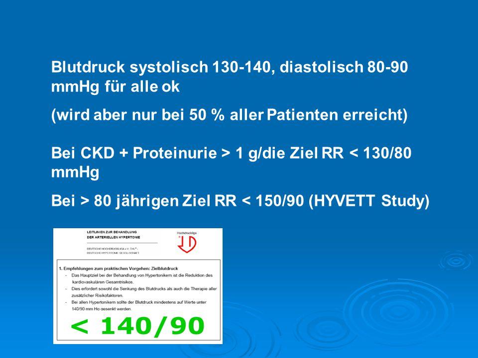 Blutdruck systolisch 130-140, diastolisch 80-90 mmHg für alle ok