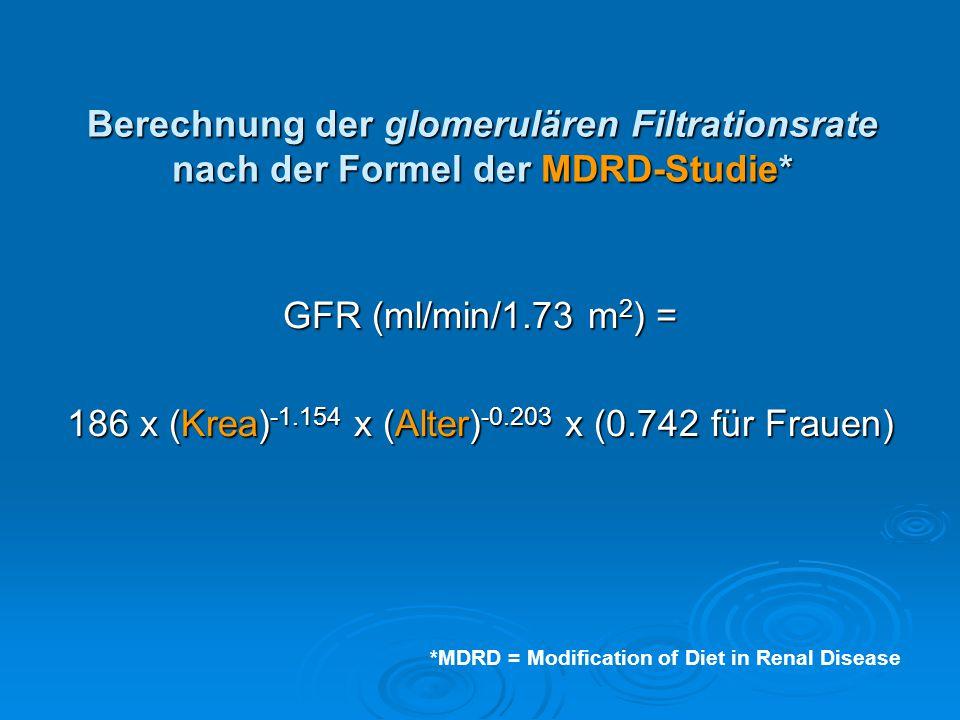186 x (Krea)-1.154 x (Alter)-0.203 x (0.742 für Frauen)