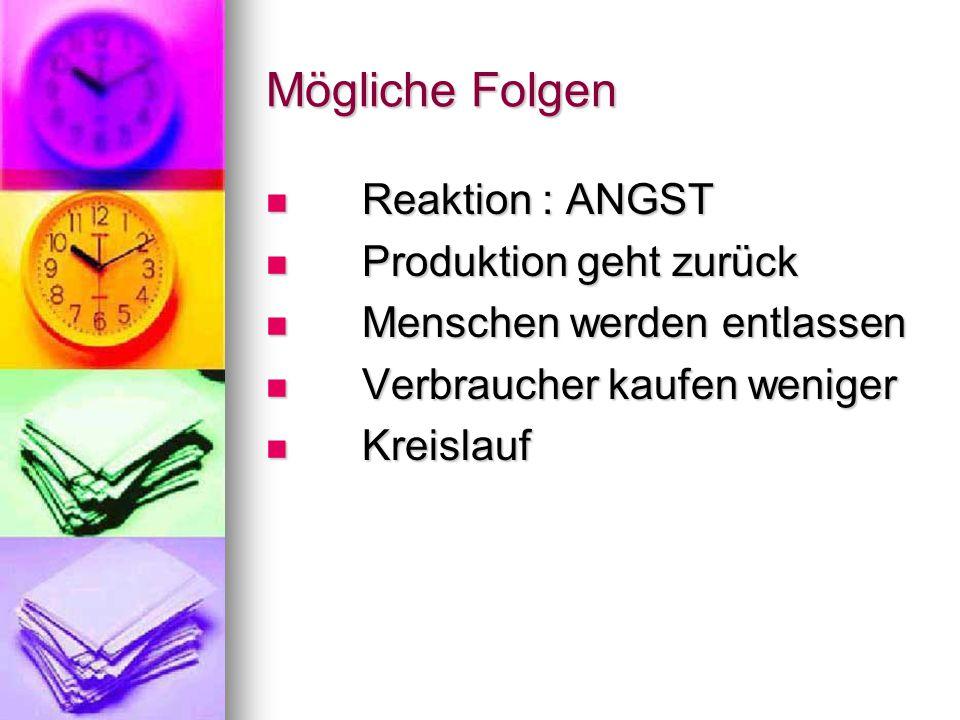 Mögliche Folgen Reaktion : ANGST Produktion geht zurück