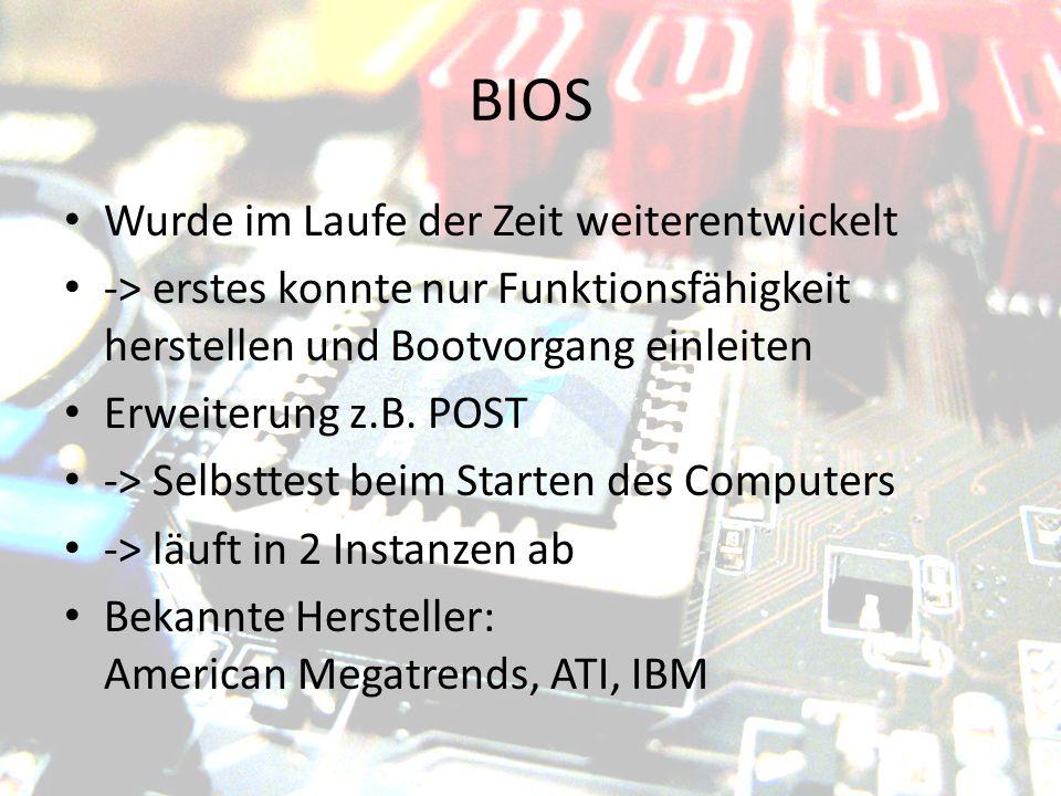 BIOS Wurde im Laufe der Zeit weiterentwickelt