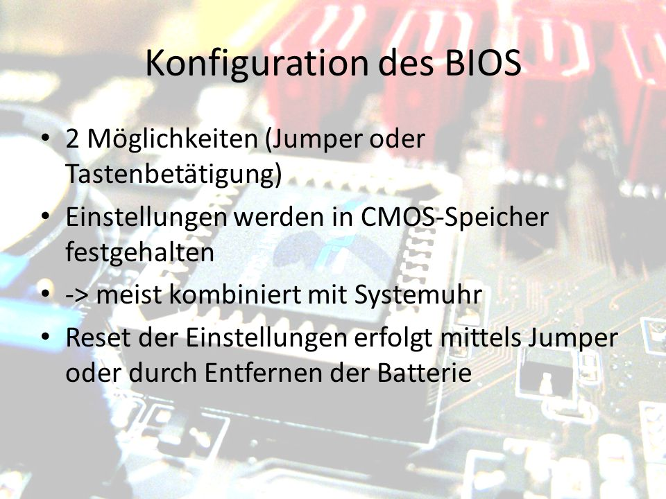 Konfiguration des BIOS