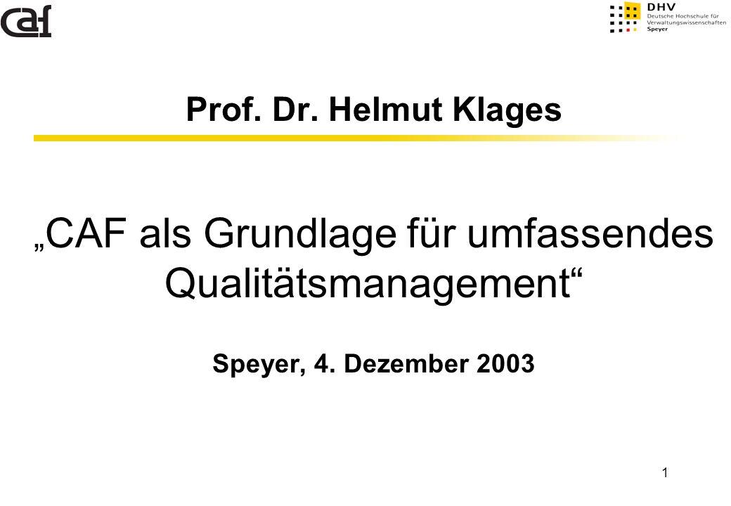 """Prof. Dr. Helmut Klages """"CAF als Grundlage für umfassendes Qualitätsmanagement Speyer, 4."""