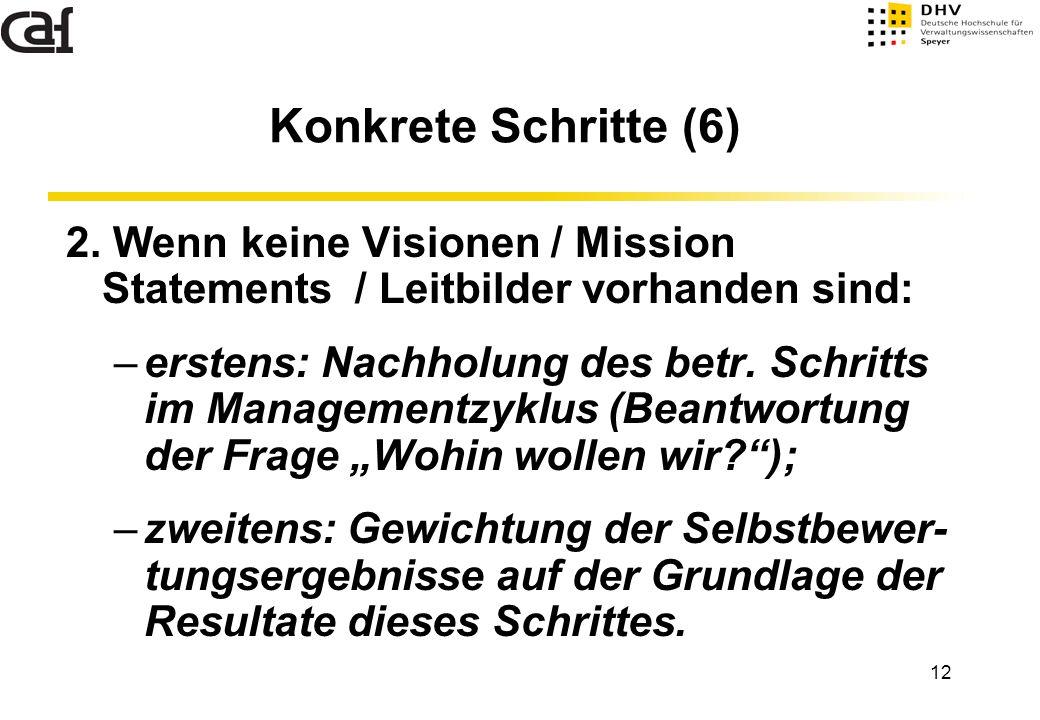 Konkrete Schritte (6) 2. Wenn keine Visionen / Mission Statements / Leitbilder vorhanden sind: