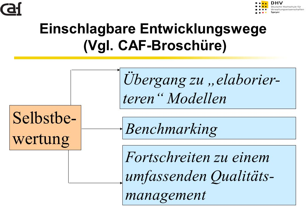 Einschlagbare Entwicklungswege (Vgl. CAF-Broschüre)