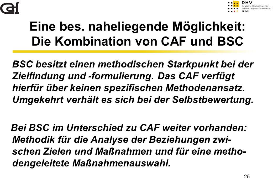 Eine bes. naheliegende Möglichkeit: Die Kombination von CAF und BSC
