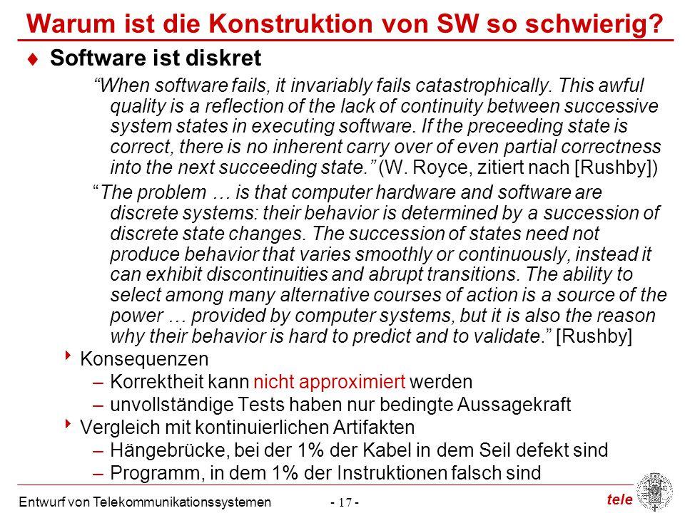 Warum ist die Konstruktion von SW so schwierig