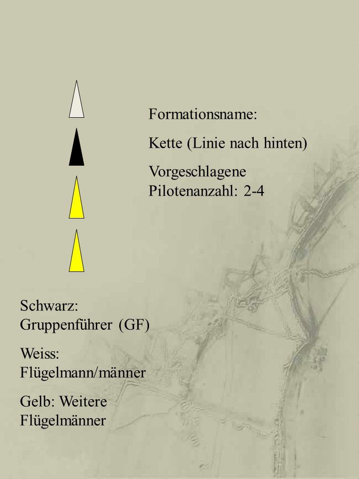 Formationsname: Kette (Linie nach hinten) Vorgeschlagene Pilotenanzahl: 2-4. Schwarz: Gruppenführer (GF)
