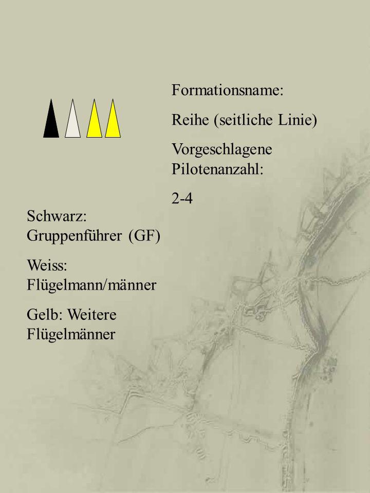 Formationsname: Reihe (seitliche Linie) Vorgeschlagene Pilotenanzahl: 2-4. Schwarz: Gruppenführer (GF)