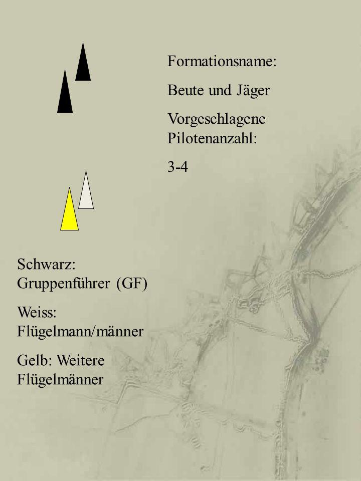 Formationsname: Beute und Jäger. Vorgeschlagene Pilotenanzahl: 3-4. Schwarz: Gruppenführer (GF) Weiss: Flügelmann/männer.