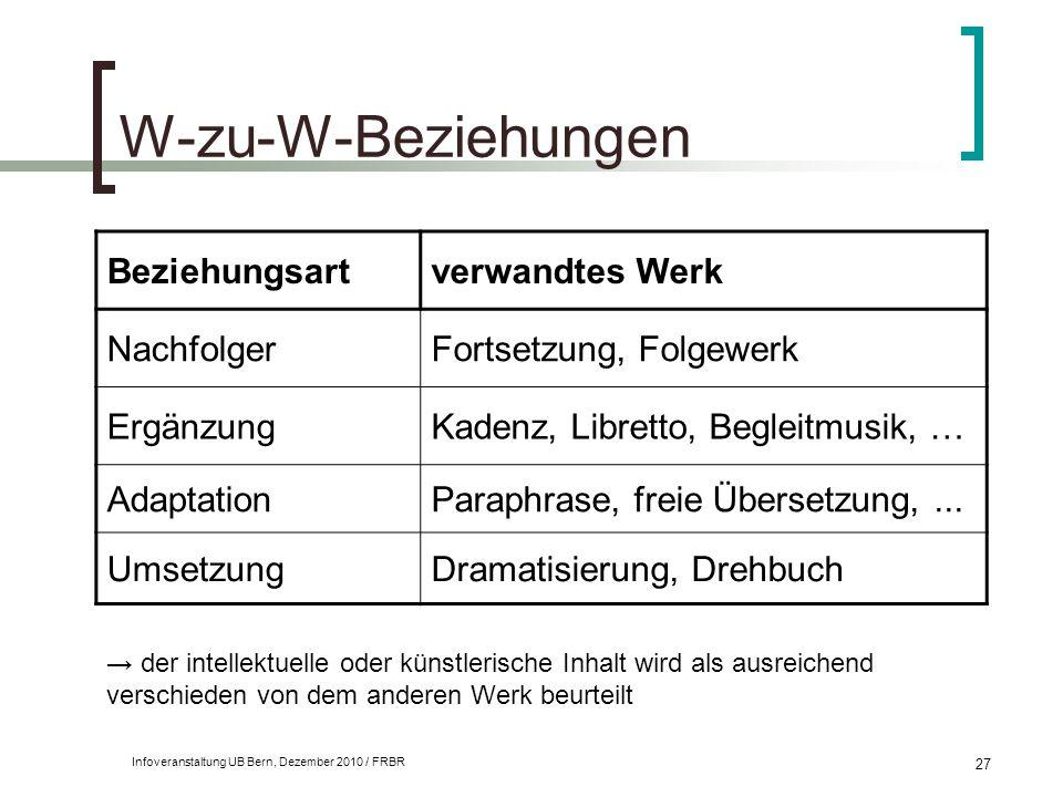 W-zu-W-Beziehungen Beziehungsart verwandtes Werk Nachfolger