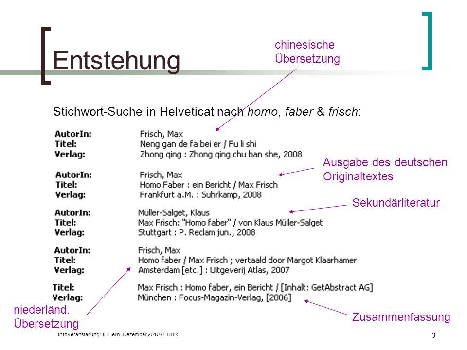 Entstehung Stichwort-Suche in Helveticat nach homo, faber & frisch: