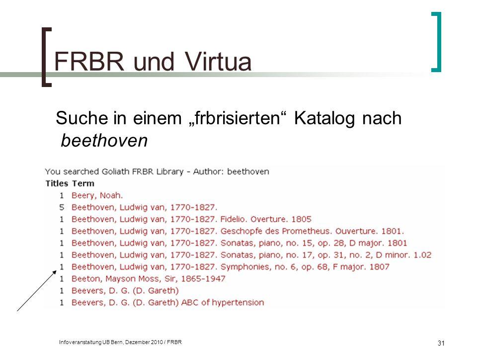 """FRBR und Virtua Suche in einem """"frbrisierten Katalog nach beethoven"""