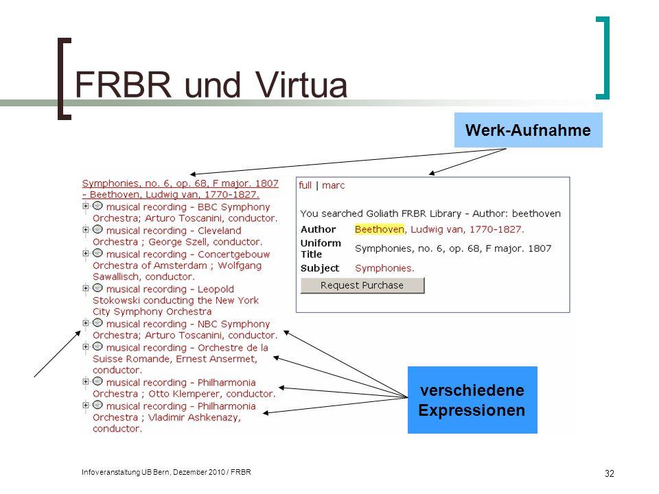 FRBR und Virtua Werk-Aufnahme verschiedene Expressionen