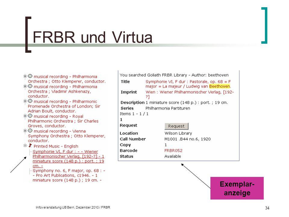 FRBR und Virtua Exemplar- anzeige