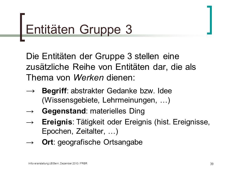 Entitäten Gruppe 3 Die Entitäten der Gruppe 3 stellen eine zusätzliche Reihe von Entitäten dar, die als Thema von Werken dienen: