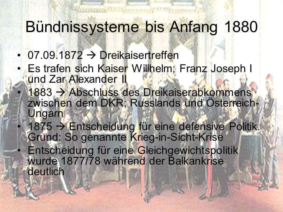 Bündnissysteme bis Anfang 1880
