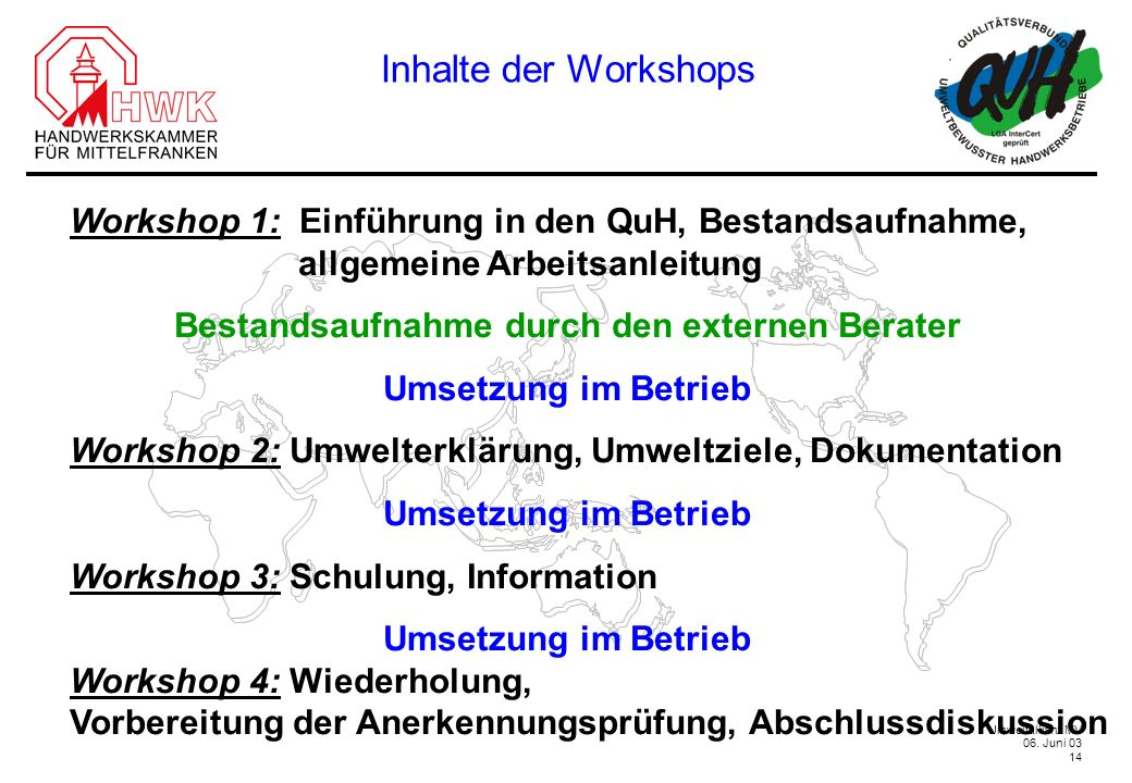 Inhalte der Workshops Workshop 1: Einführung in den QuH, Bestandsaufnahme, allgemeine Arbeitsanleitung.