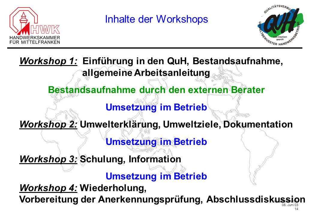 Inhalte der WorkshopsWorkshop 1: Einführung in den QuH, Bestandsaufnahme, allgemeine Arbeitsanleitung.