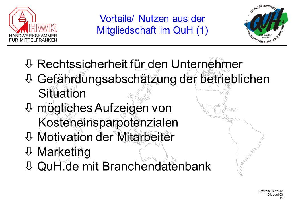 Vorteile/ Nutzen aus der Mitgliedschaft im QuH (1)