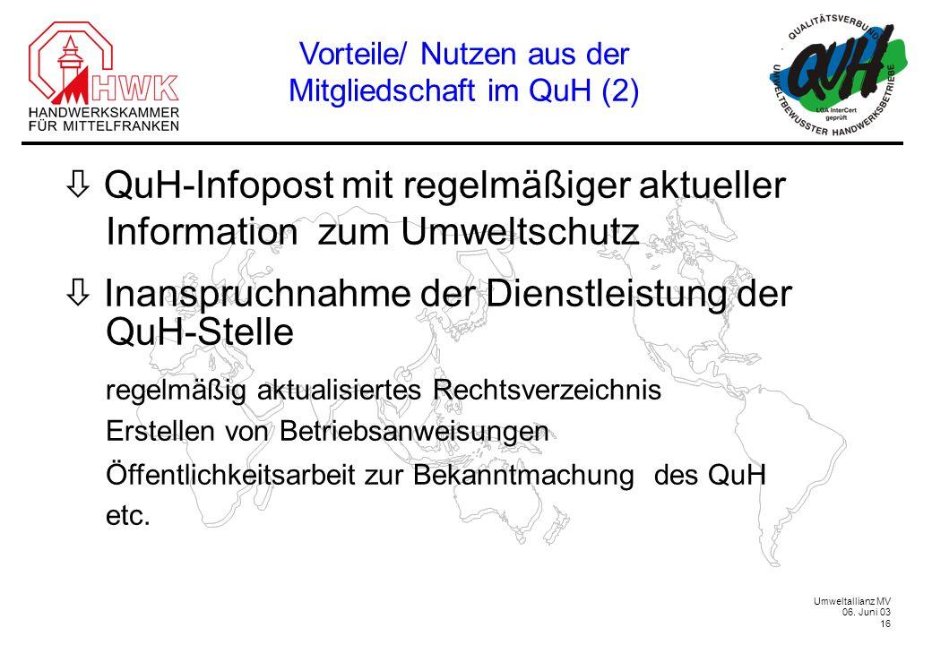Vorteile/ Nutzen aus der Mitgliedschaft im QuH (2)
