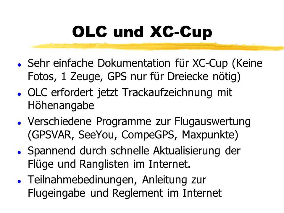 OLC und XC-Cup Sehr einfache Dokumentation für XC-Cup (Keine Fotos, 1 Zeuge, GPS nur für Dreiecke nötig)