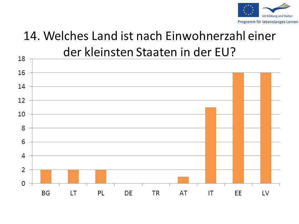 14. Welches Land ist nach Einwohnerzahl einer der kleinsten Staaten in der EU