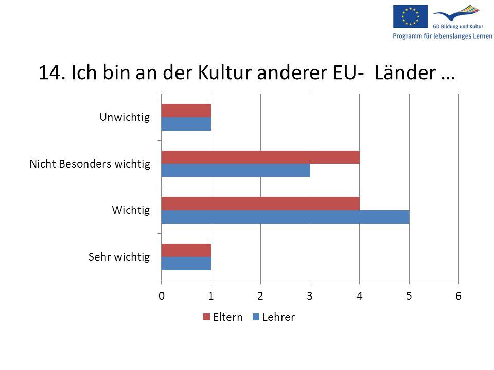 14. Ich bin an der Kultur anderer EU- Länder …