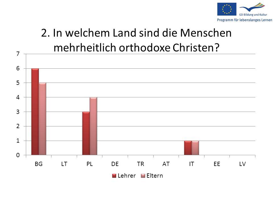2. In welchem Land sind die Menschen mehrheitlich orthodoxe Christen